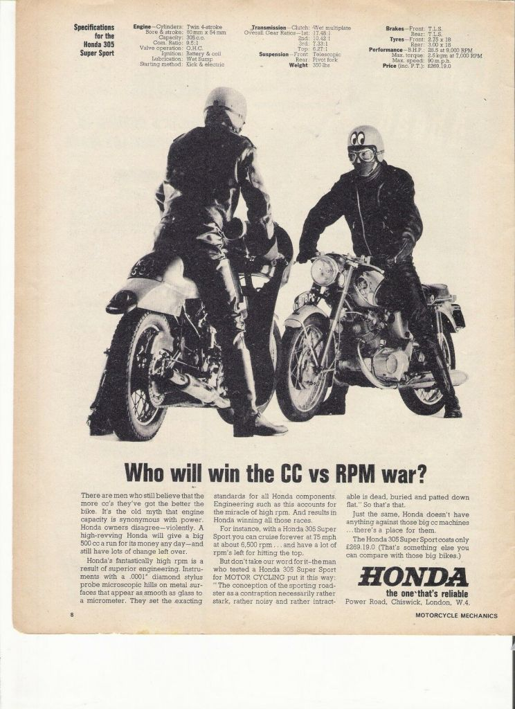 Honda 305 Super Sport classic motorcycle period advert