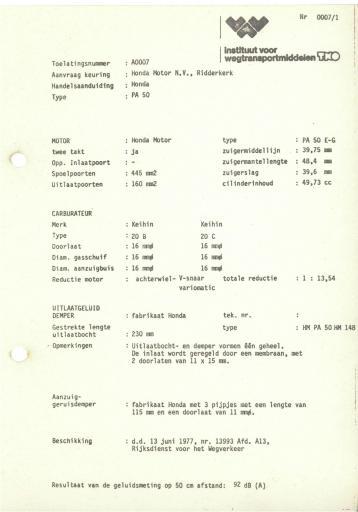 RDW keuringsverslagen Honda PA50 13 Juni 1977 13993 A0007