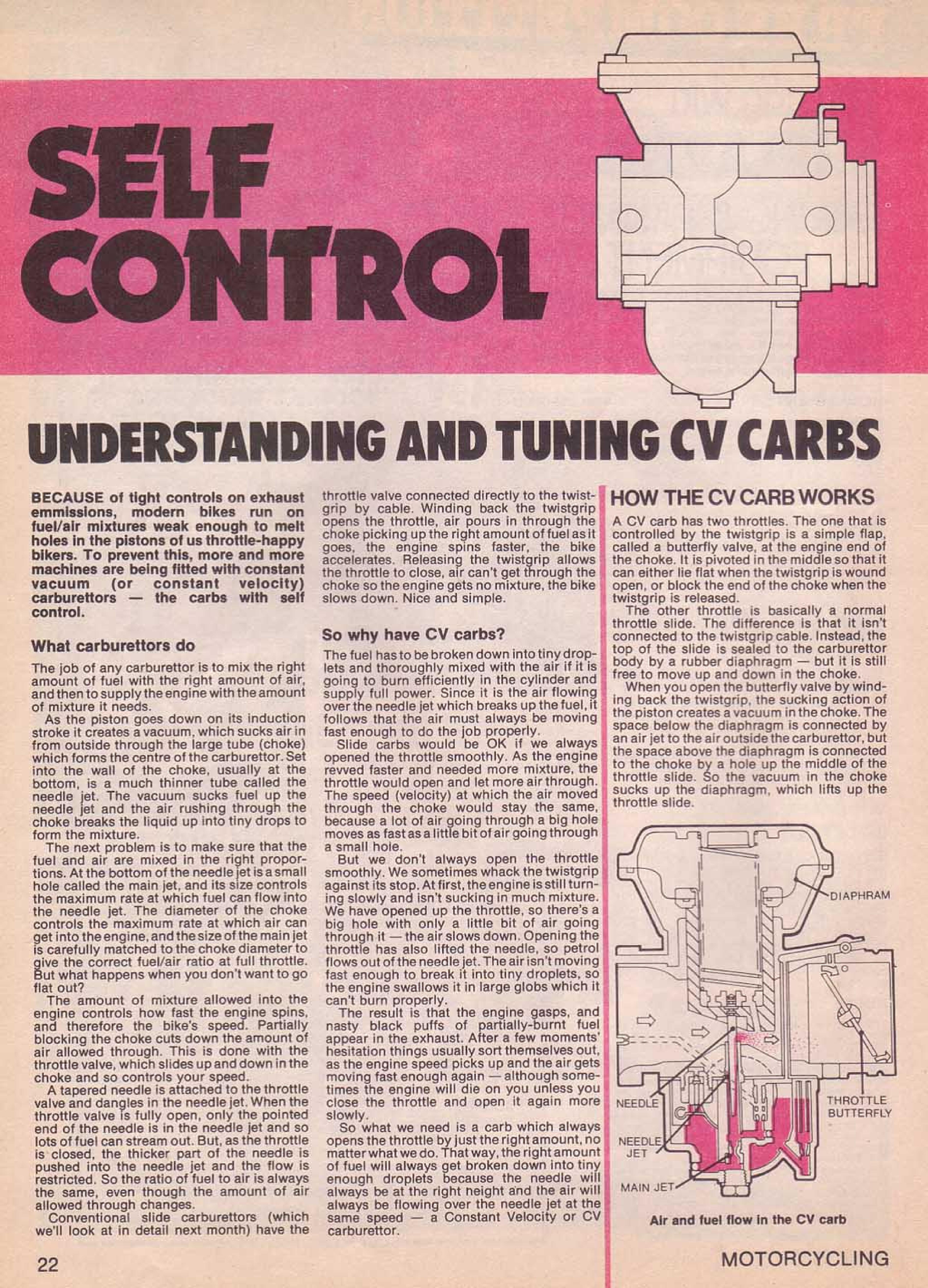 Motorcycling Magazine about CV Carburetors (July 1979)