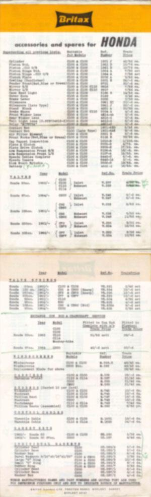 Accessories and Spares price list (1961-1964) (Large)