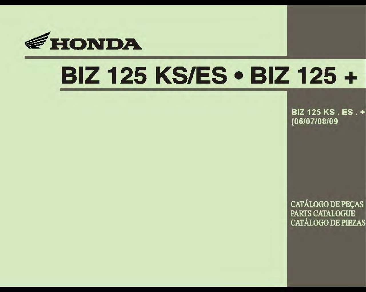Parts list for Honda BIZ125 + (2006-2009) (Multilingual)