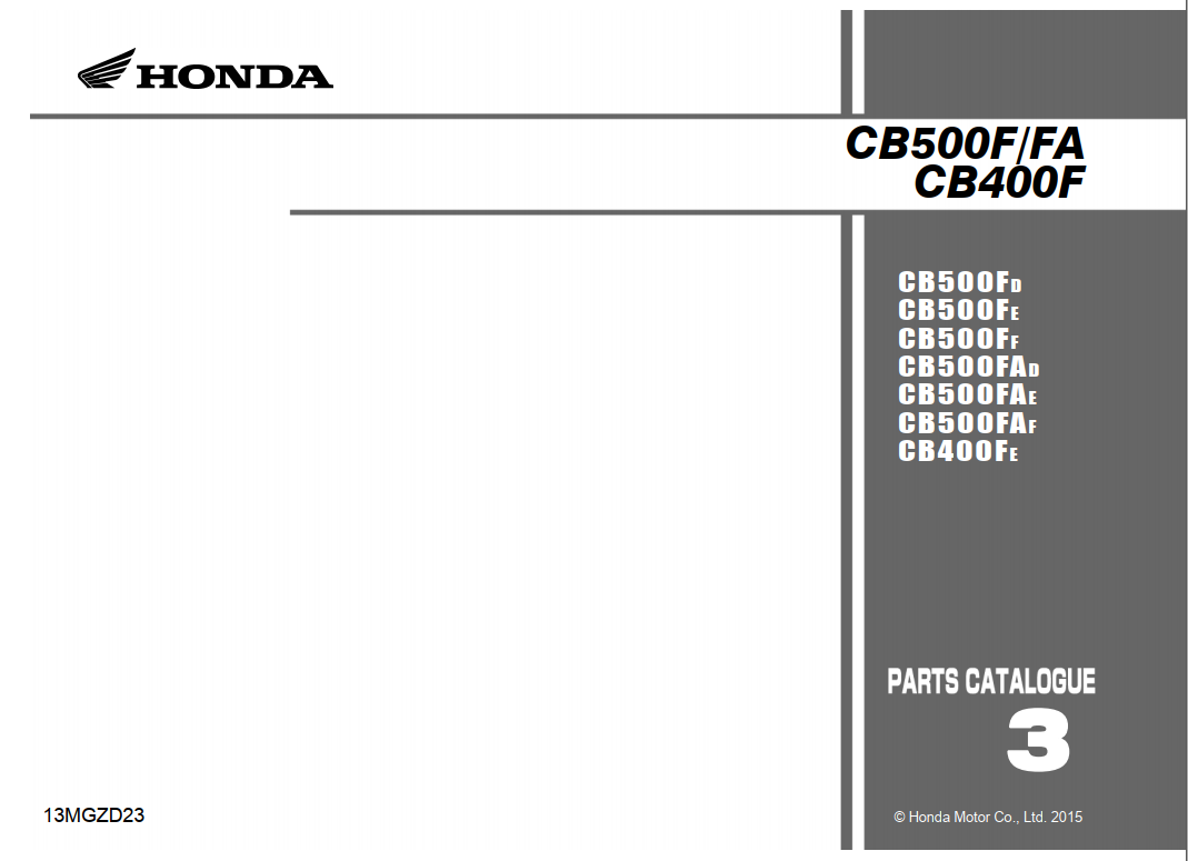 Parts list for Honda CB500F (2015)