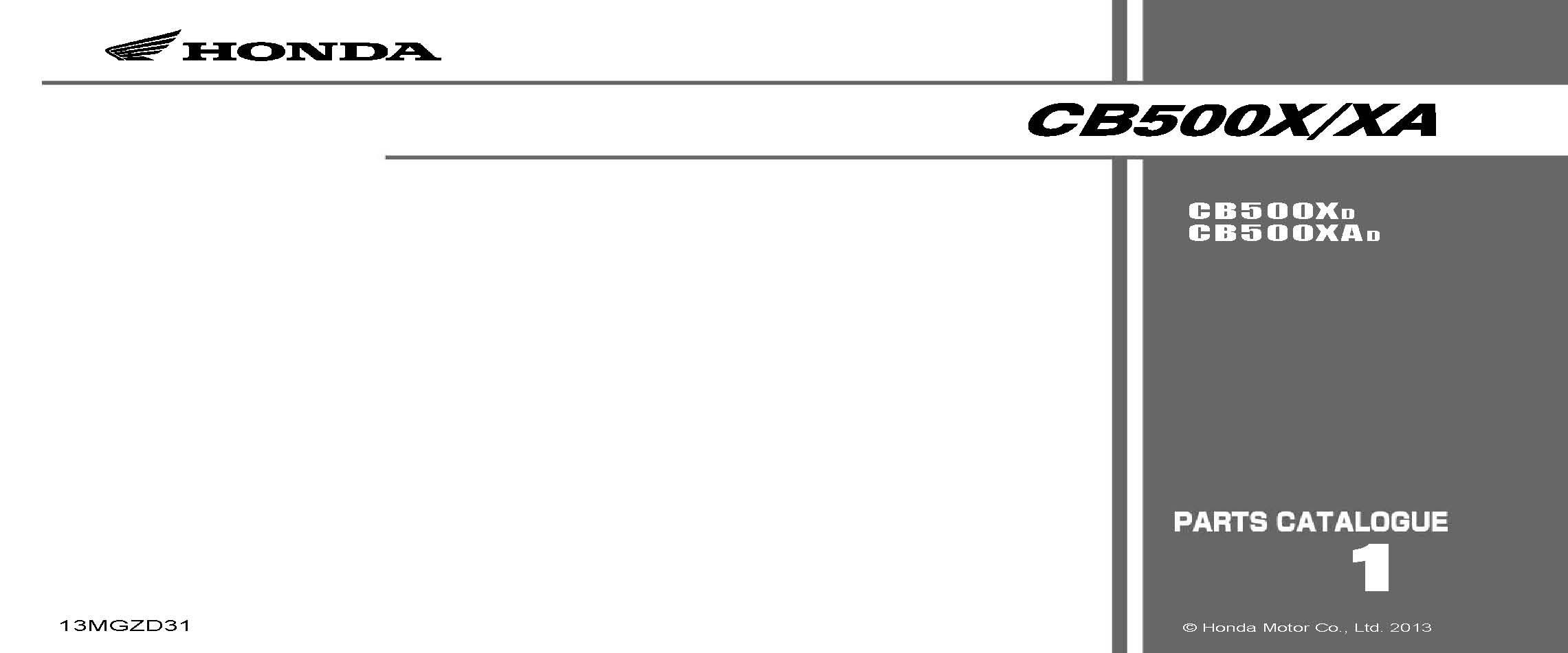 Parts List for Honda CB500X (2013)