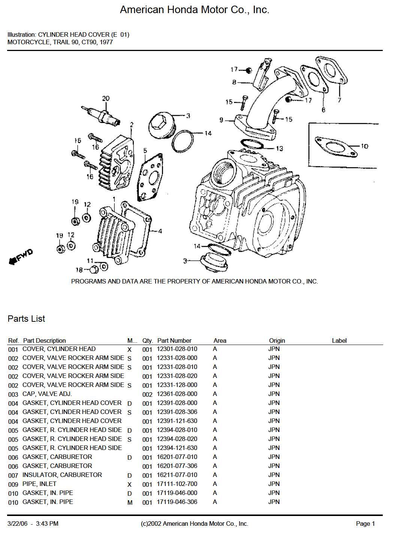 Parts list for Honda CT90 (1977)