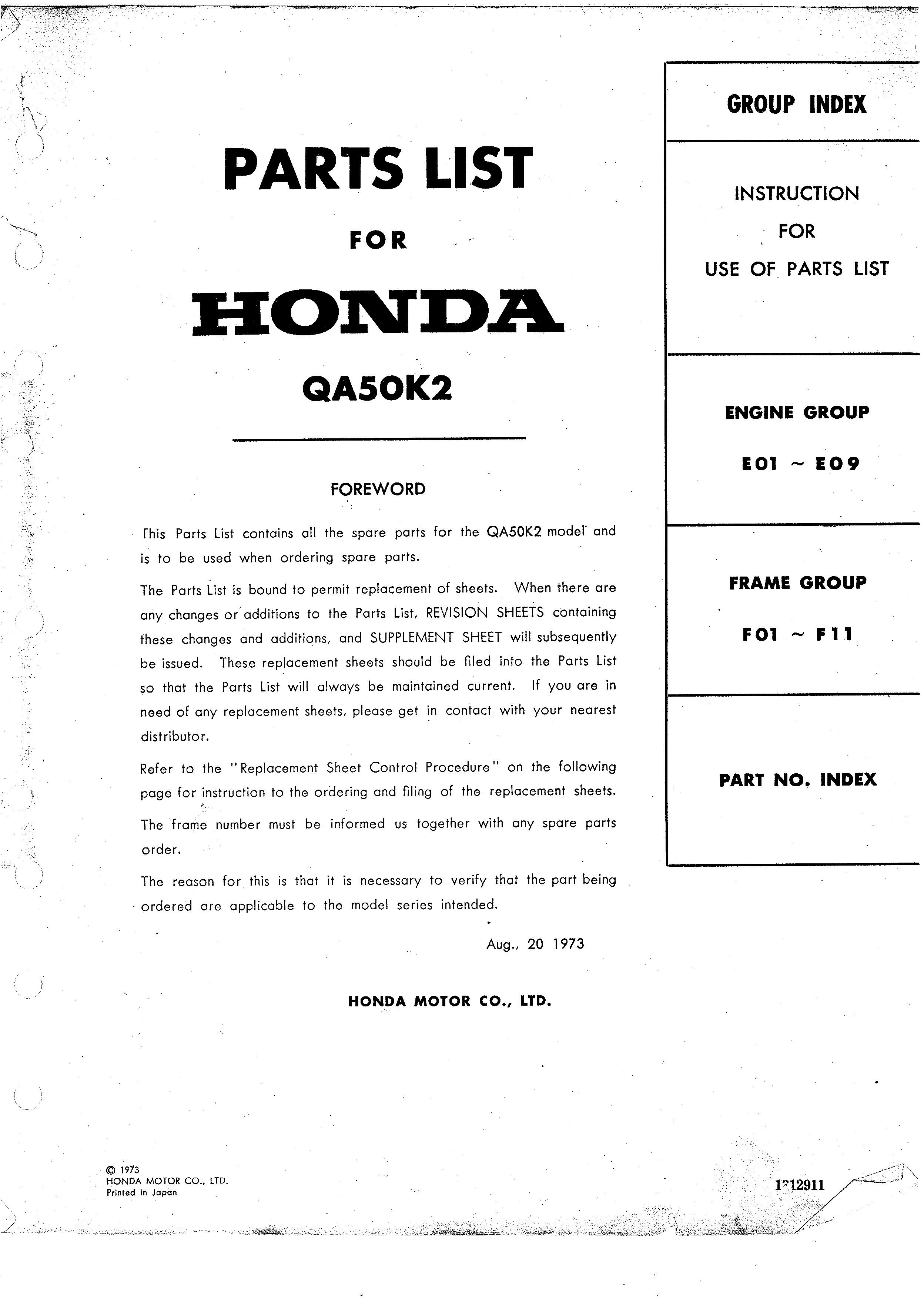 Parts List for Honda QA50K2 (1973)