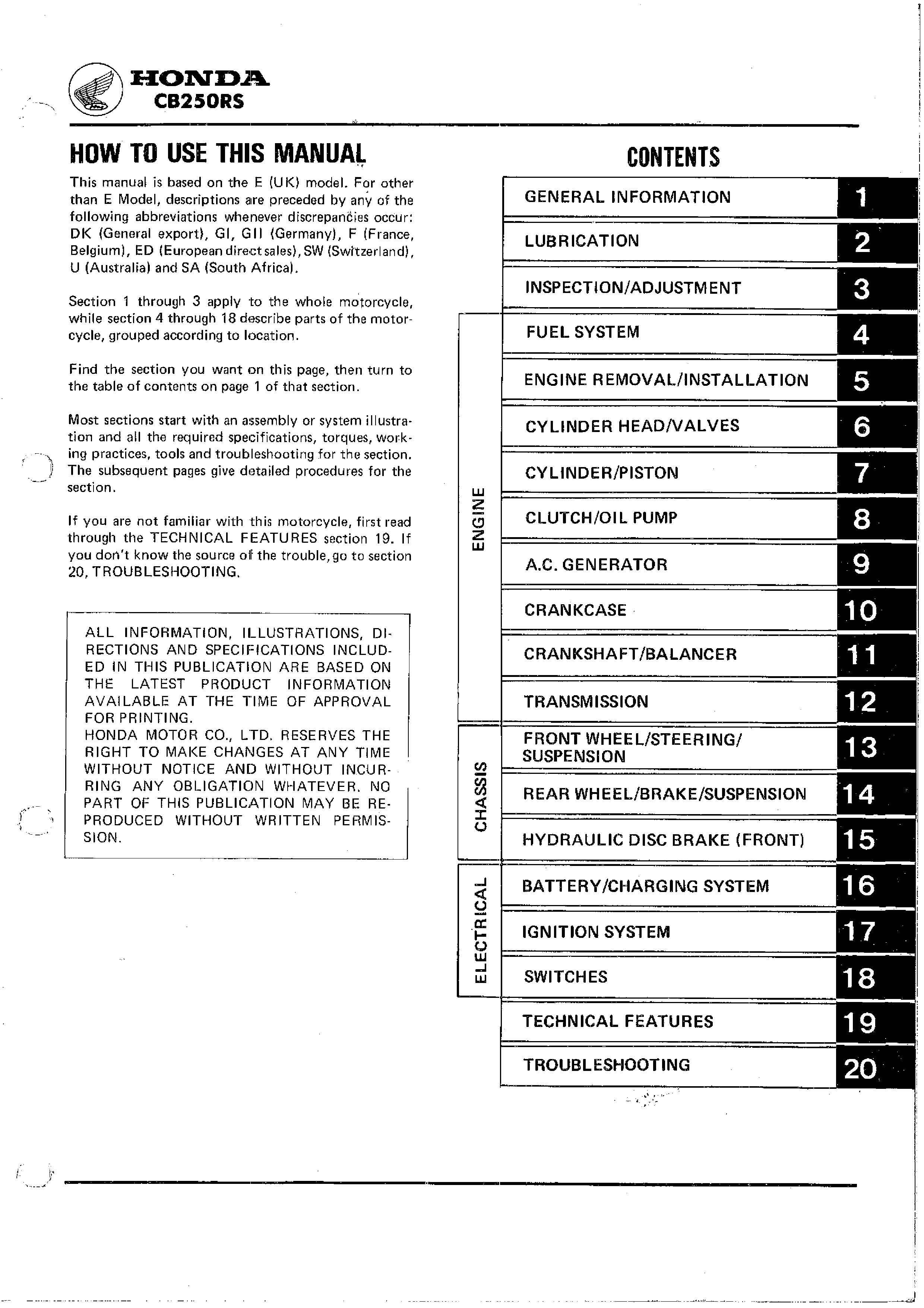 Workshop manual for Honda CB250RS