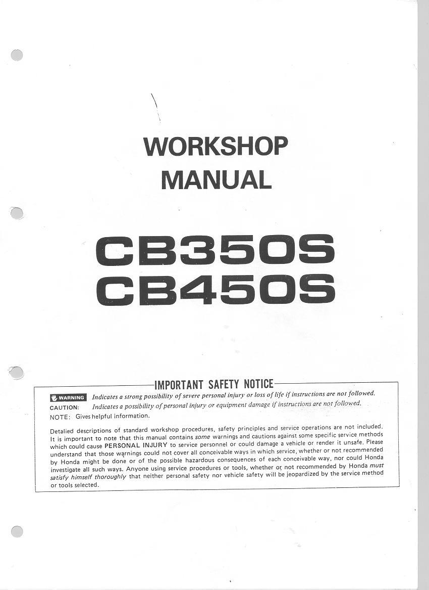 Workshop manual for Honda CB450S