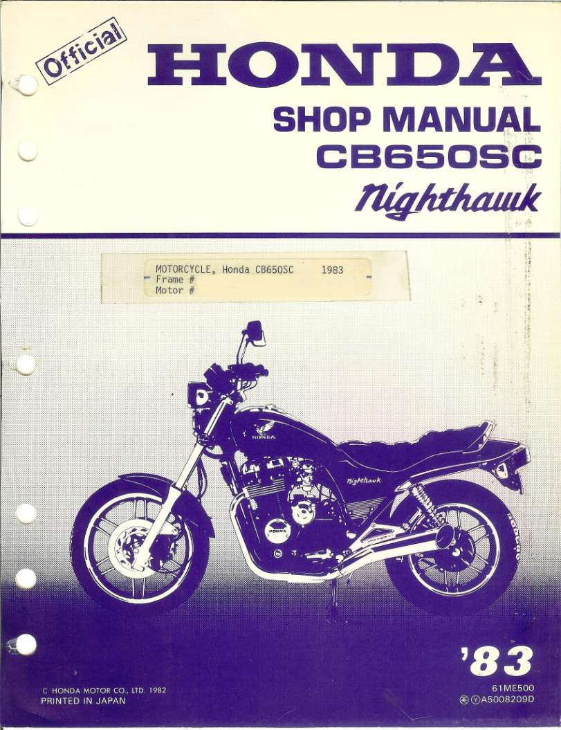 Workshop manual for Honda CB650SC Nighthawk (1983)
