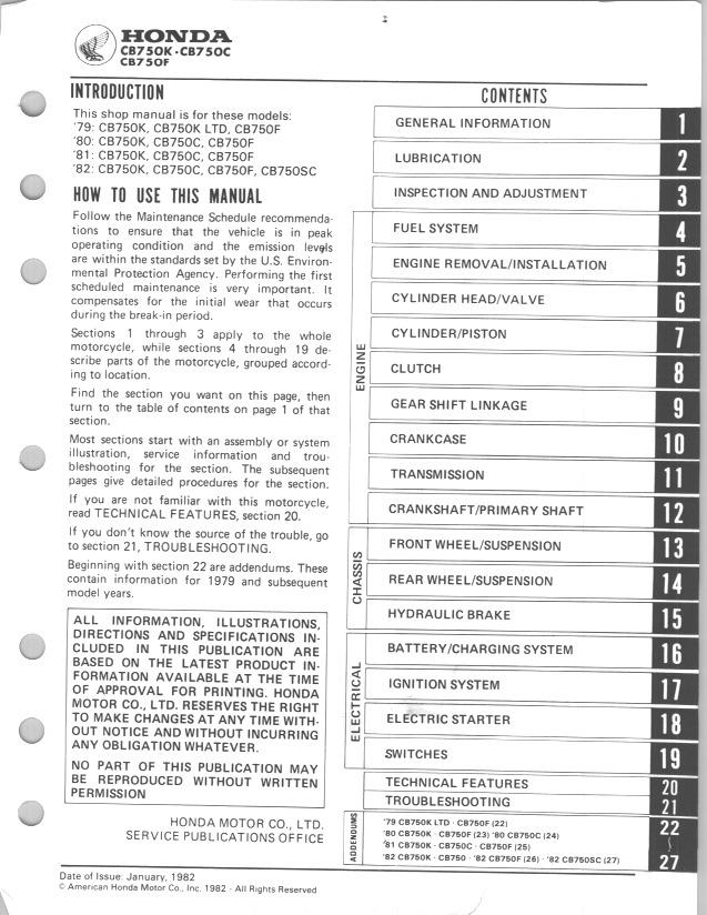 Workshopmanual for Honda CB750K (1979-1982)