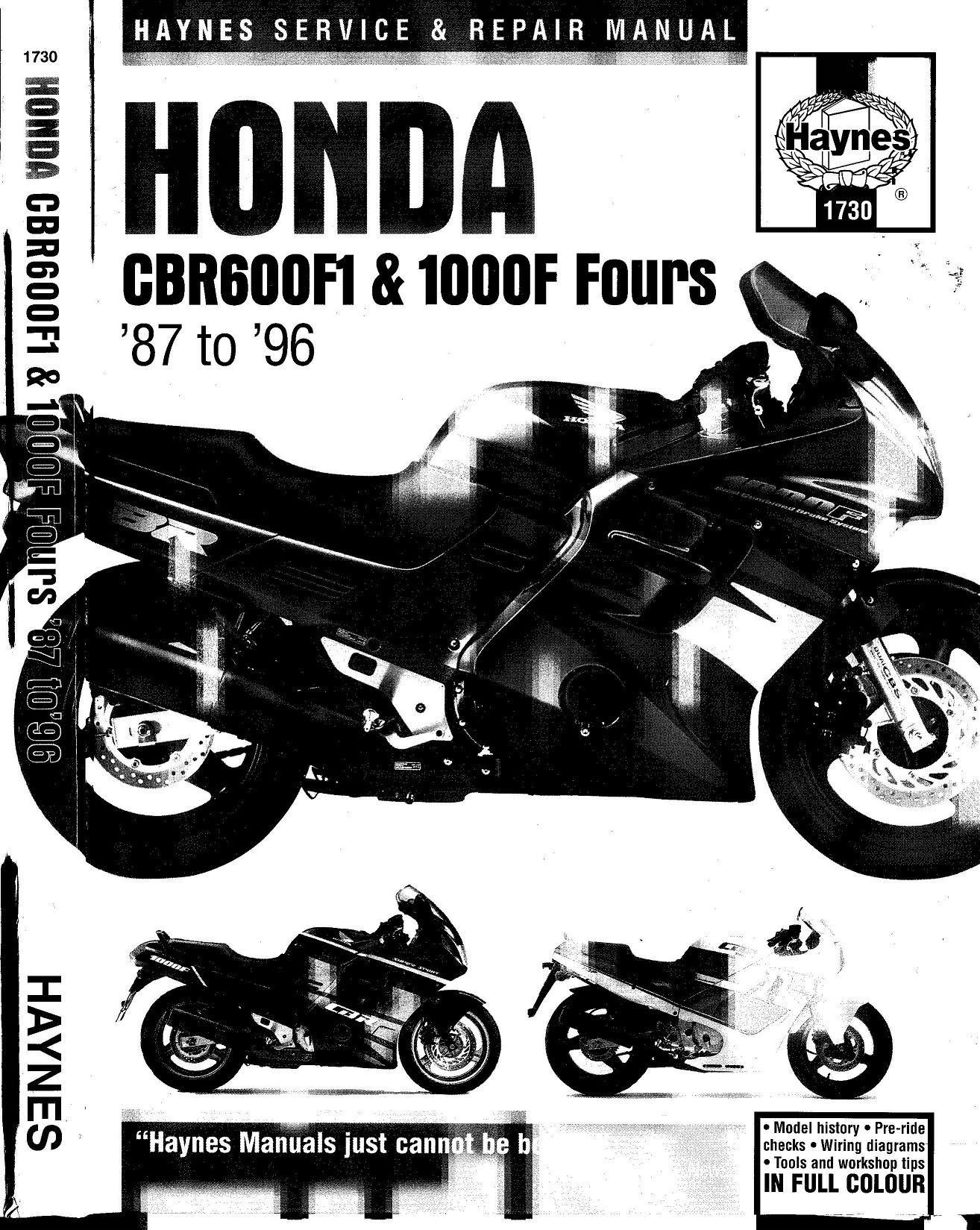 Workshop manual for Honda CBR600 F1 (1987-1996)