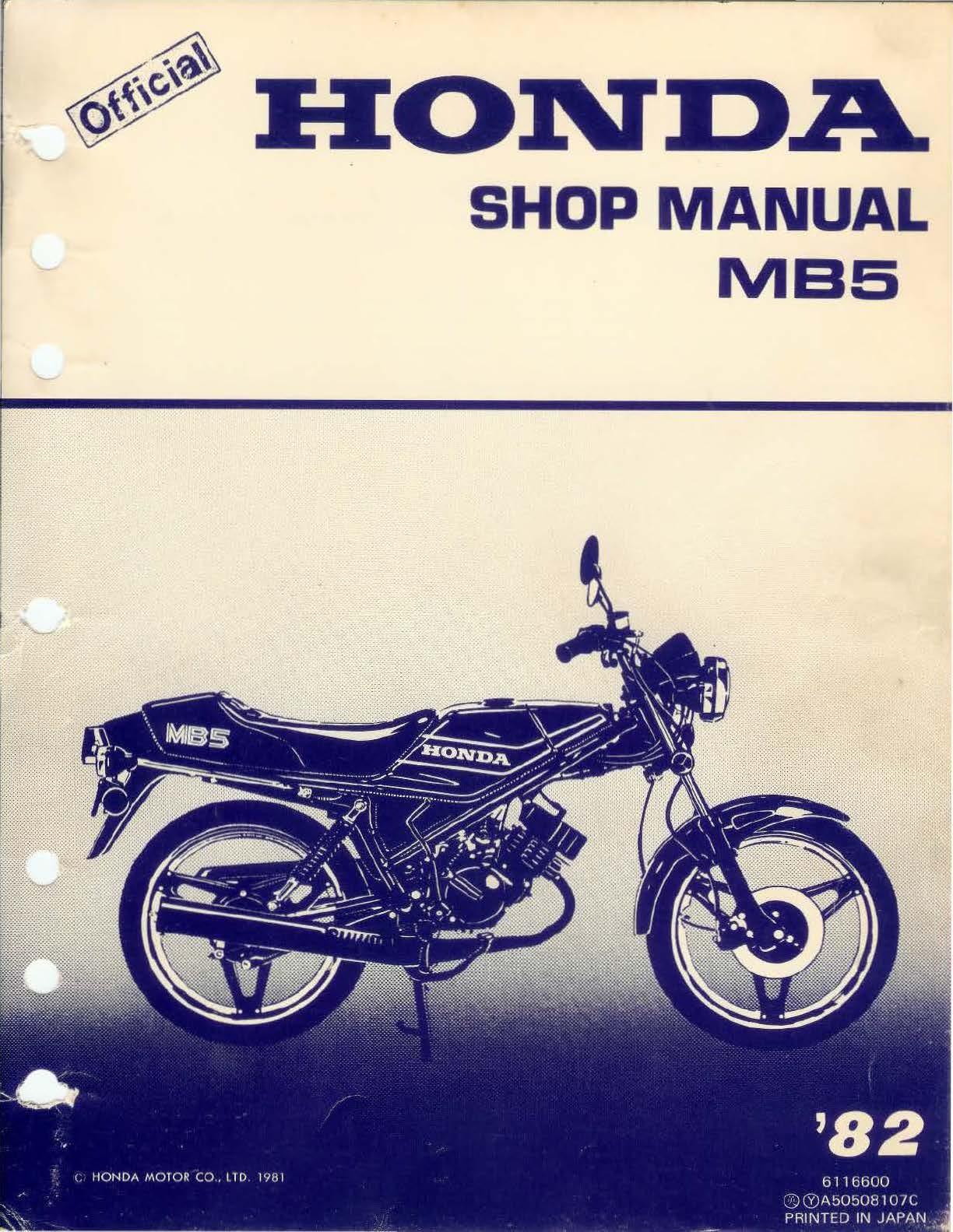 Workshop manual for Honda MB5 (1982)