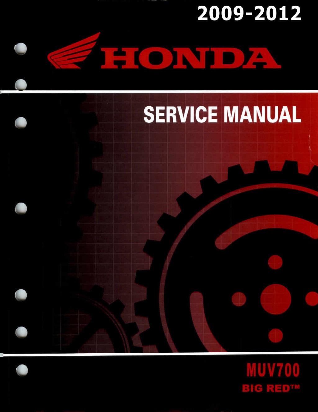 Workshop Manual for Honda MUV700 Big Red (2009-2012)