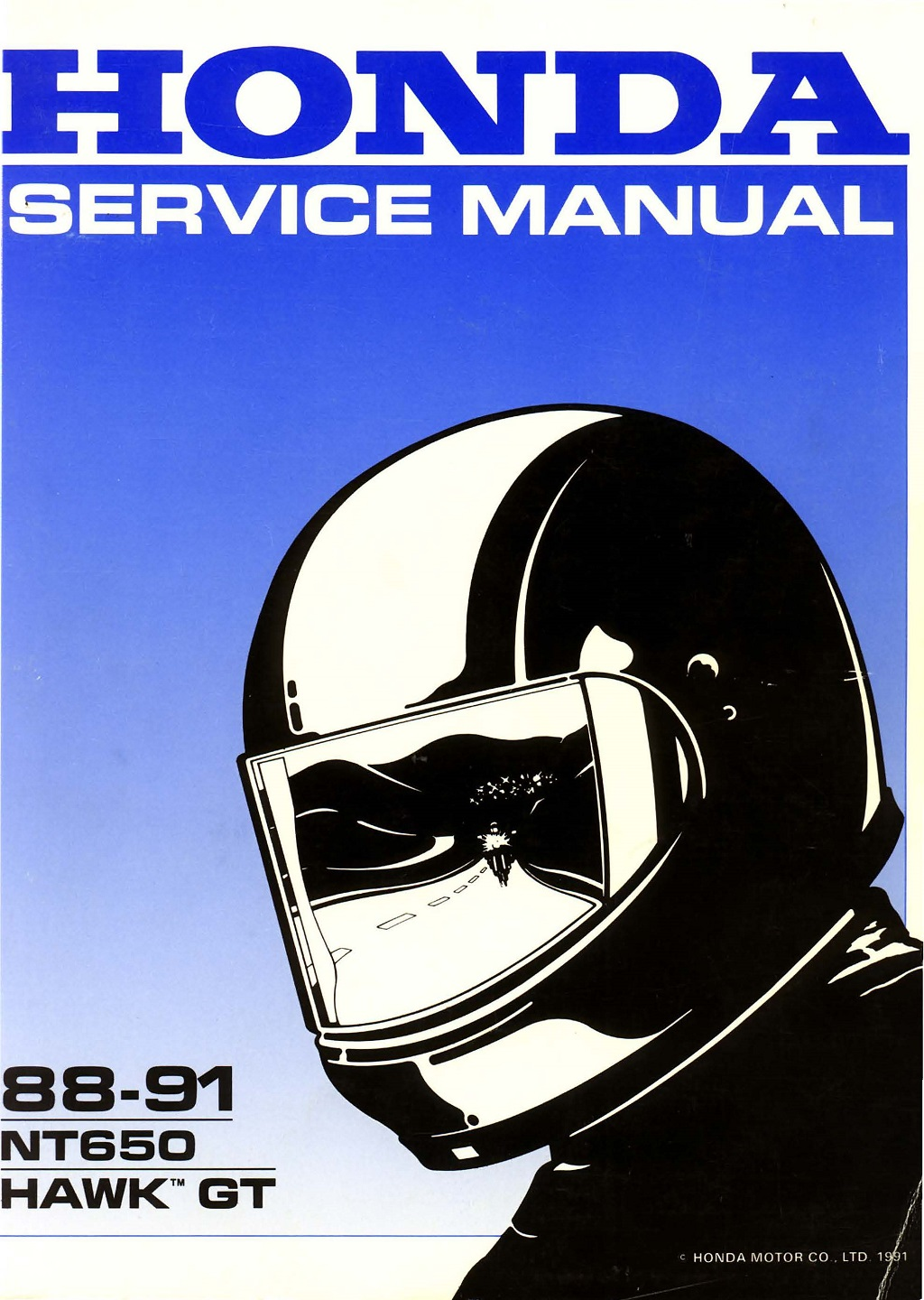 Workshop manual for Honda NT650 Hawk GT (1988-1991)