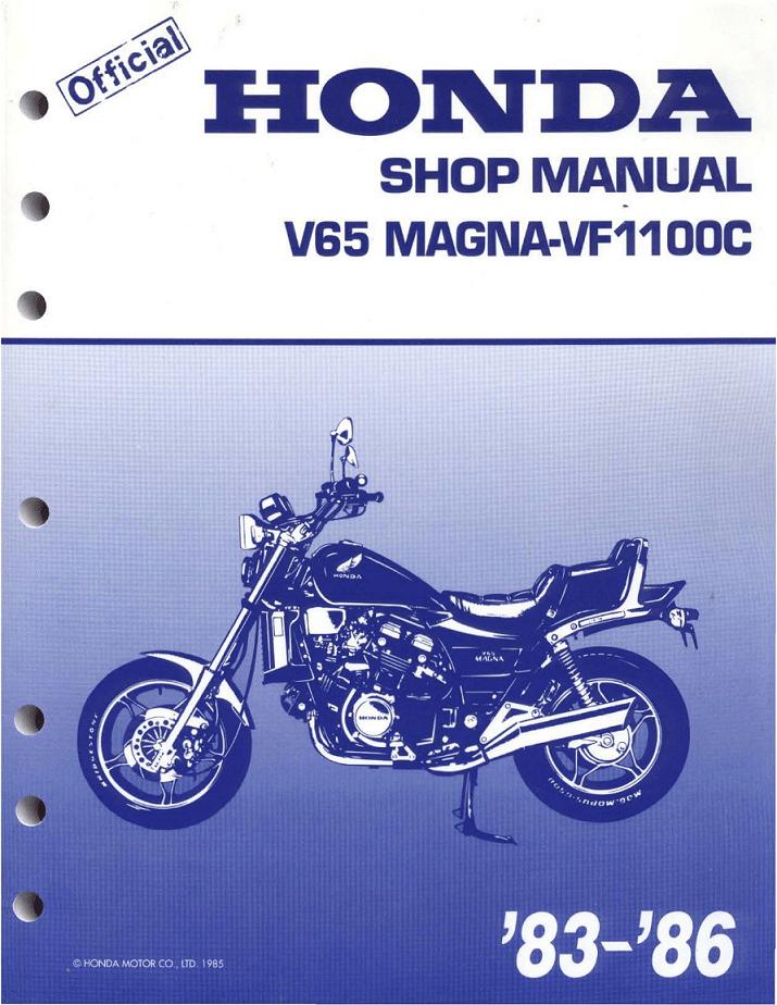 Workshop manual for Honda VF1100C Magna (1983-1986)