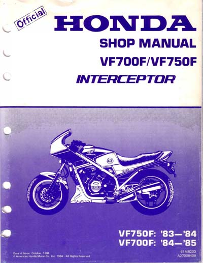 Workshop Manual for Honda VF700F Interceptor (1984-1985)