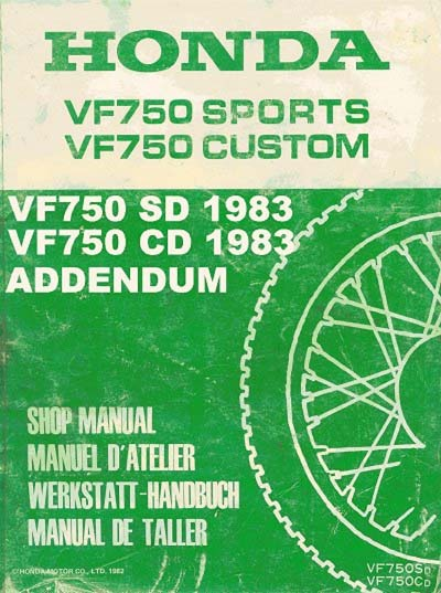 Workshop Manual for Honda VF750CD (1982-1983) Addendum