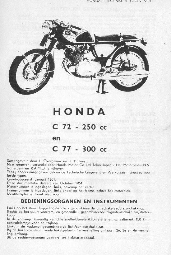 Workshop manual for Honda C72 (1961)