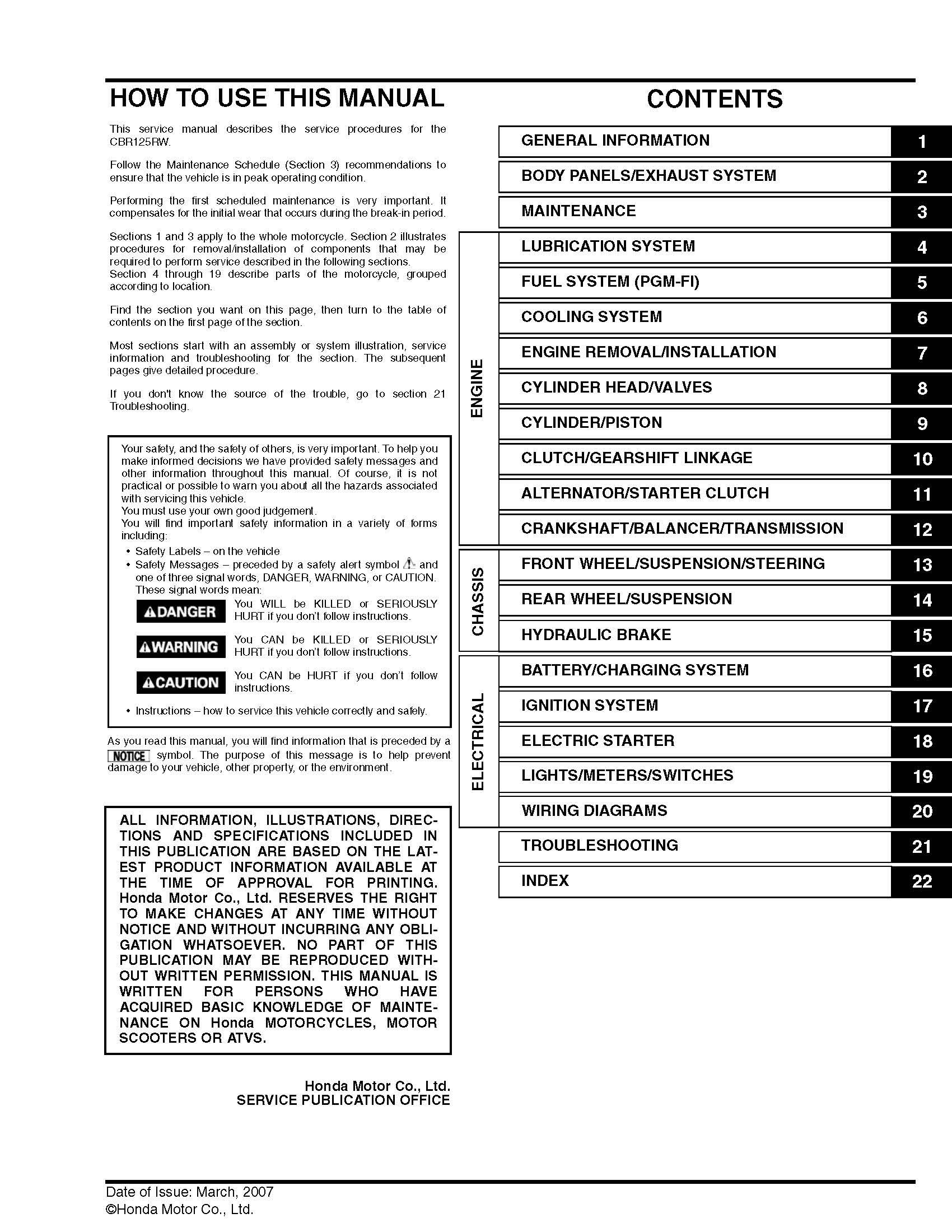 Workshop manual for Honda CBR125RW (2007)