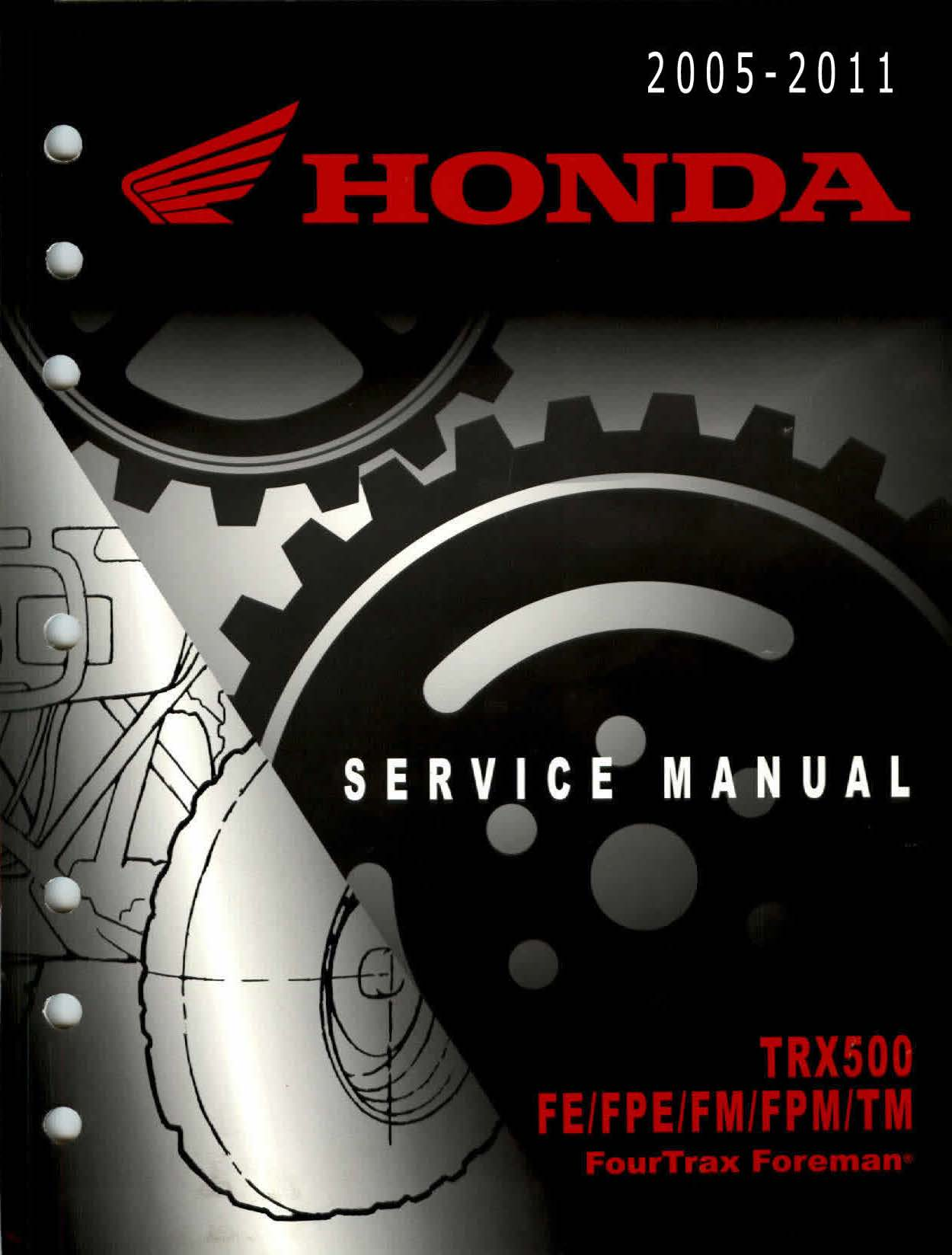 Workshopmanual for Honda TRX500 FE FPE FM FPM TM Foreman (2005-2011)