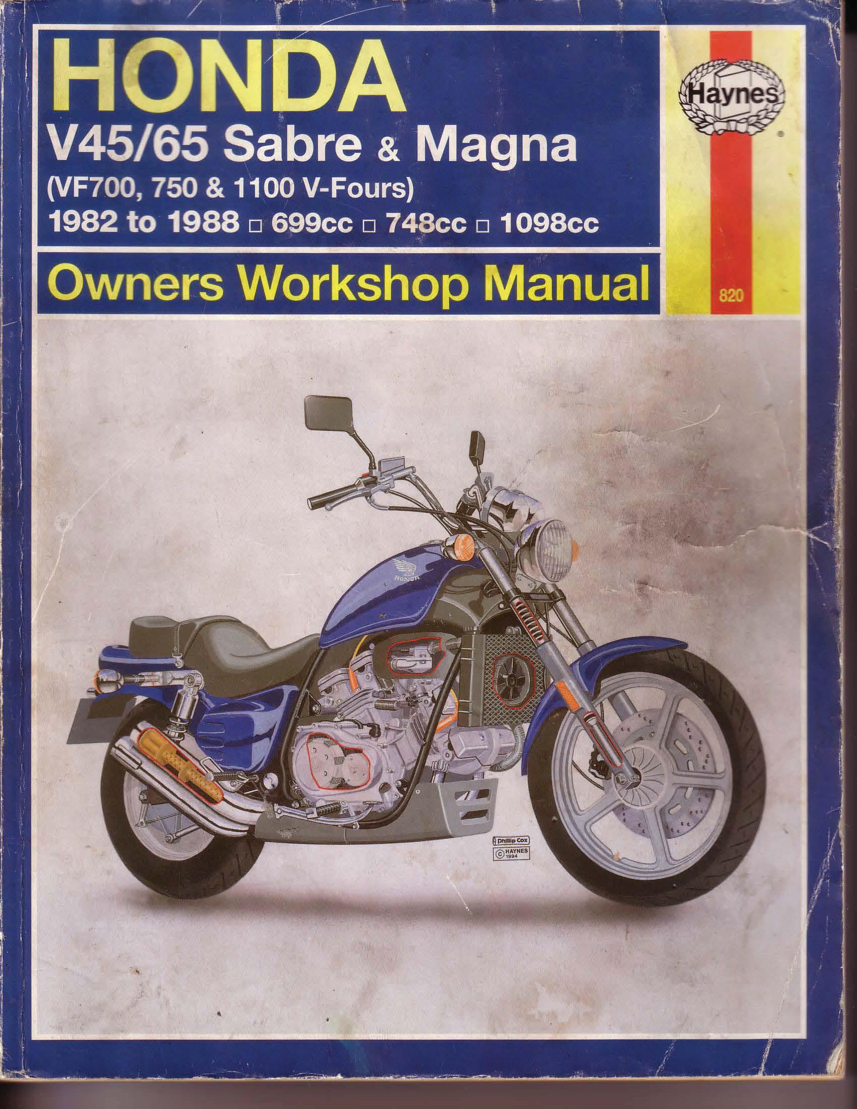Workshopmanual for Honda VF1100 V45/V65 - Sabre/Magna (1982-1988)